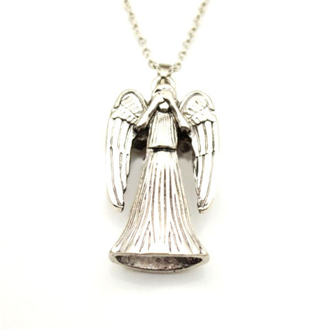 Doctor Who Weeping Angel Inspired Silver Double-Sided Pendant