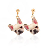 Quirky White Dog Face Ditsy Drop Stud Earrings