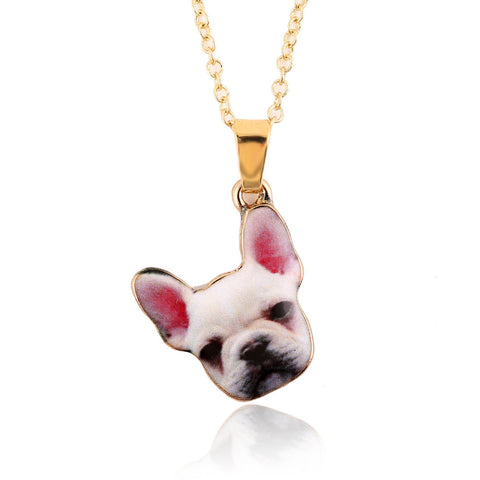 Quirky White Dog Face Ditsy Pendant Necklace