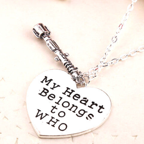 'My Heart Belongs to Who' Heart-shaped Sonic Screwdriver Doctor Who Pendant