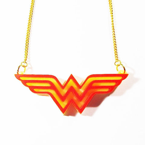 Wonder Woman Insignia Acrylic Necklace