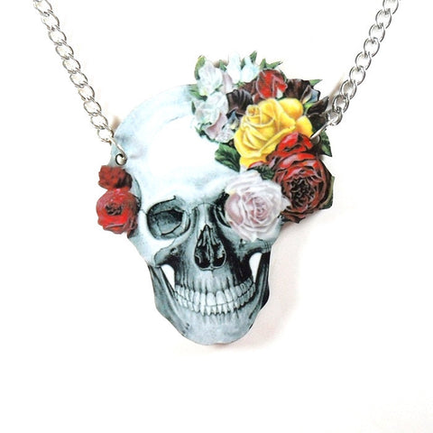 Wooden Skull Flowers Kitsch Necklace