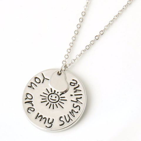 'You Are My Sunshine' Circular Love Pendant Necklace