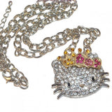 Diamante Silver Hello Kitty Crown Necklace