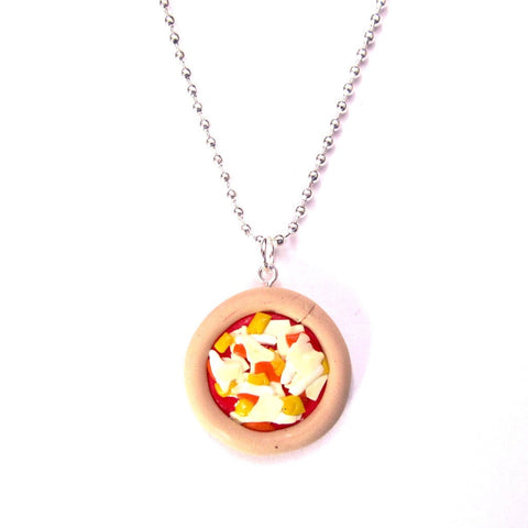 Kitsch Four Cheese Pizza Clay Pendant Necklace