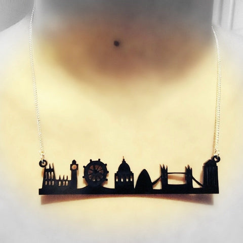 Stunning Black Silhouette London Skyline Necklace