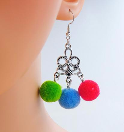 Cutely Dainty Multicolour Mini Pom Poms Dangle Earrings