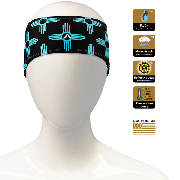 New Mexico Zia Teal/Black Headband