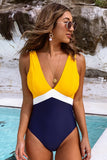 Yellow Blue Colorblocked Open Back One-Piece
