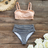 Ruffled Bandeau Bikini With High-waisted Bottoms
