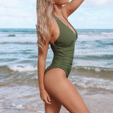 Army Green Ruched One-Piece Swimsuit