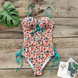 Sexy Dainty Floral Print Lace-Up One-Piece