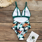 Teal and Floral Scalloped One-Piece Swimsuit