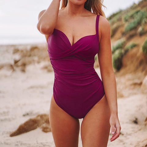 Berry Red Pleated One-Piece Swimsuit