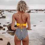 Yellow and Stripe Lace Up One-Piece Swimsuit