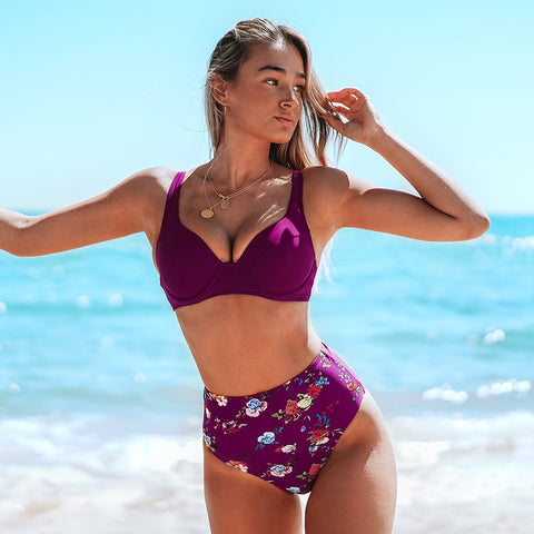 Burgundy Floral High-Waisted Bikini