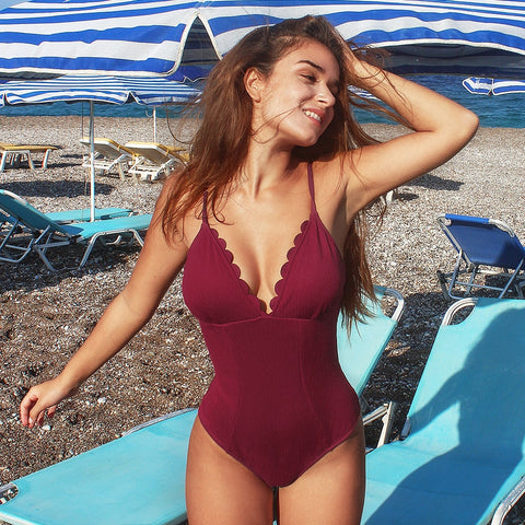 Solid Dark Red Scalloped Edge Neckline One-Piece