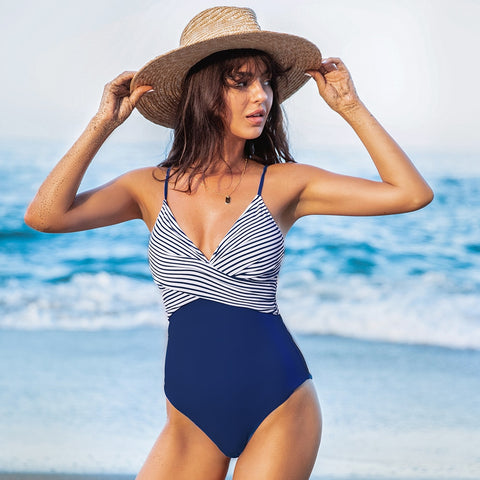 Blue and Stripe V-neck One-Piece Swimsuit