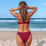 Red Solid Crisscross Low-Waist Bikini Set