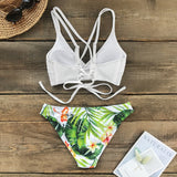 White and Green Leaf Print Low-waist Bikini Set