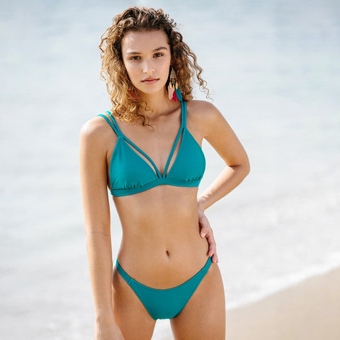 Solid Teal Strappy Cut Out Bikini Set