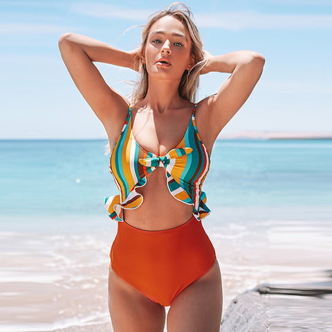 Colorful Stripe Ruffles Cut Out One-Piece