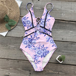 Pink Flower Print Piping One-piece Swimsuit