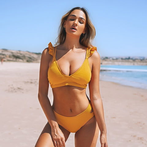Solid Yellow Ruffled Mid-waisted Bikini Set
