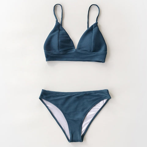 Solid Low Waist Triangle Bikini Set