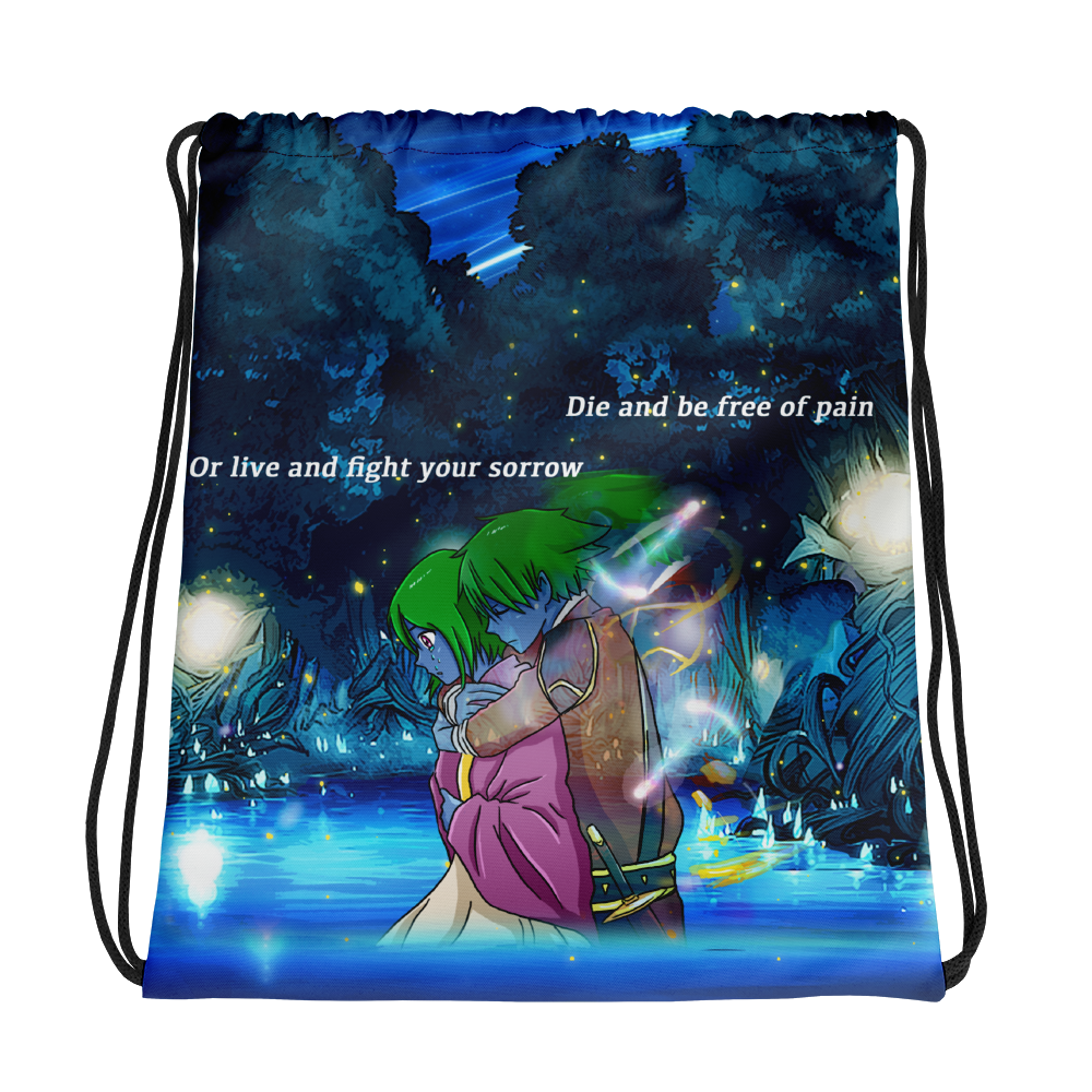 """Die and be free of pain, or live and fight your sorrow"" Drawstring bag"