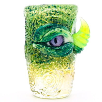 "Eli Mazet Sculpted Eye Shot Glass 2.75"" Purp Eye"