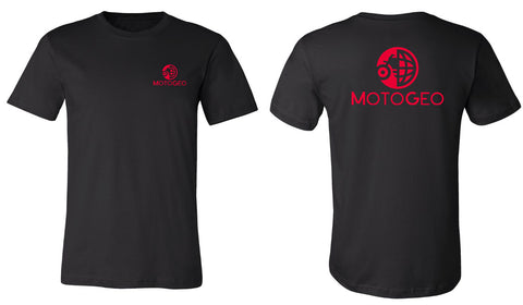 MotoGeo Bike/Globe Black T-shirt in red ink