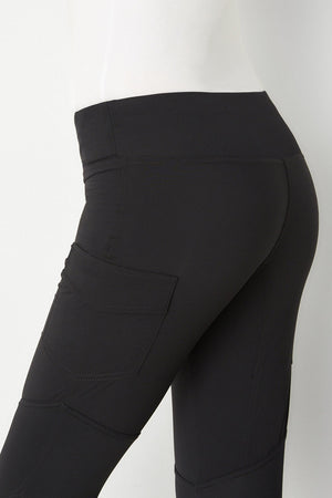 Andrea Contrast-Panel Legging- Black