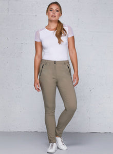 Gail Curvy High Waisted Zip Detail- Khaki