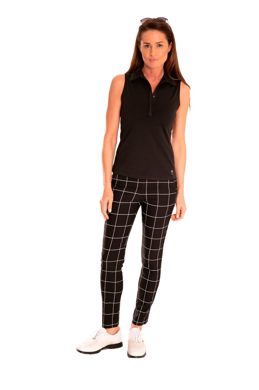 Trophy Pull-On Stretch Twill Pant - Black/White