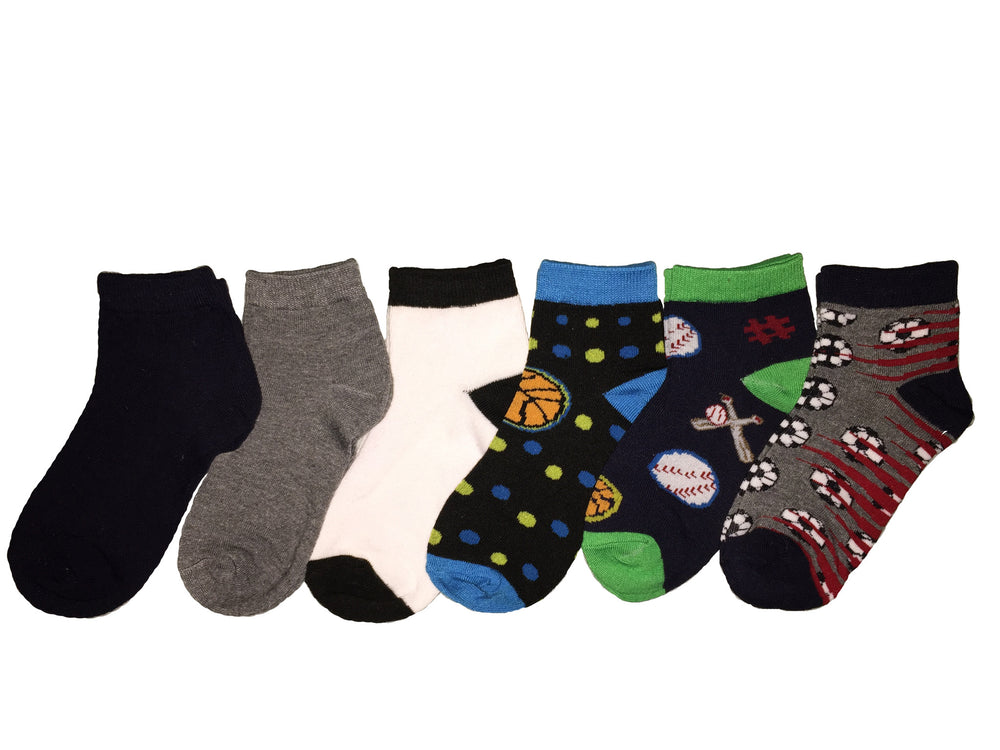 6-Pack Quarter Crew Sports Themed Boys Socks