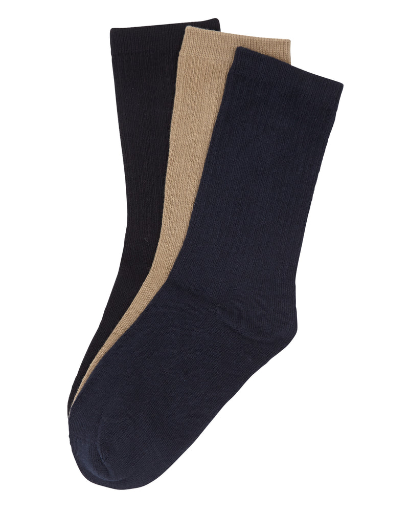 3-Pack Cotton Crew with Comfortoe Technology Socks (Black)