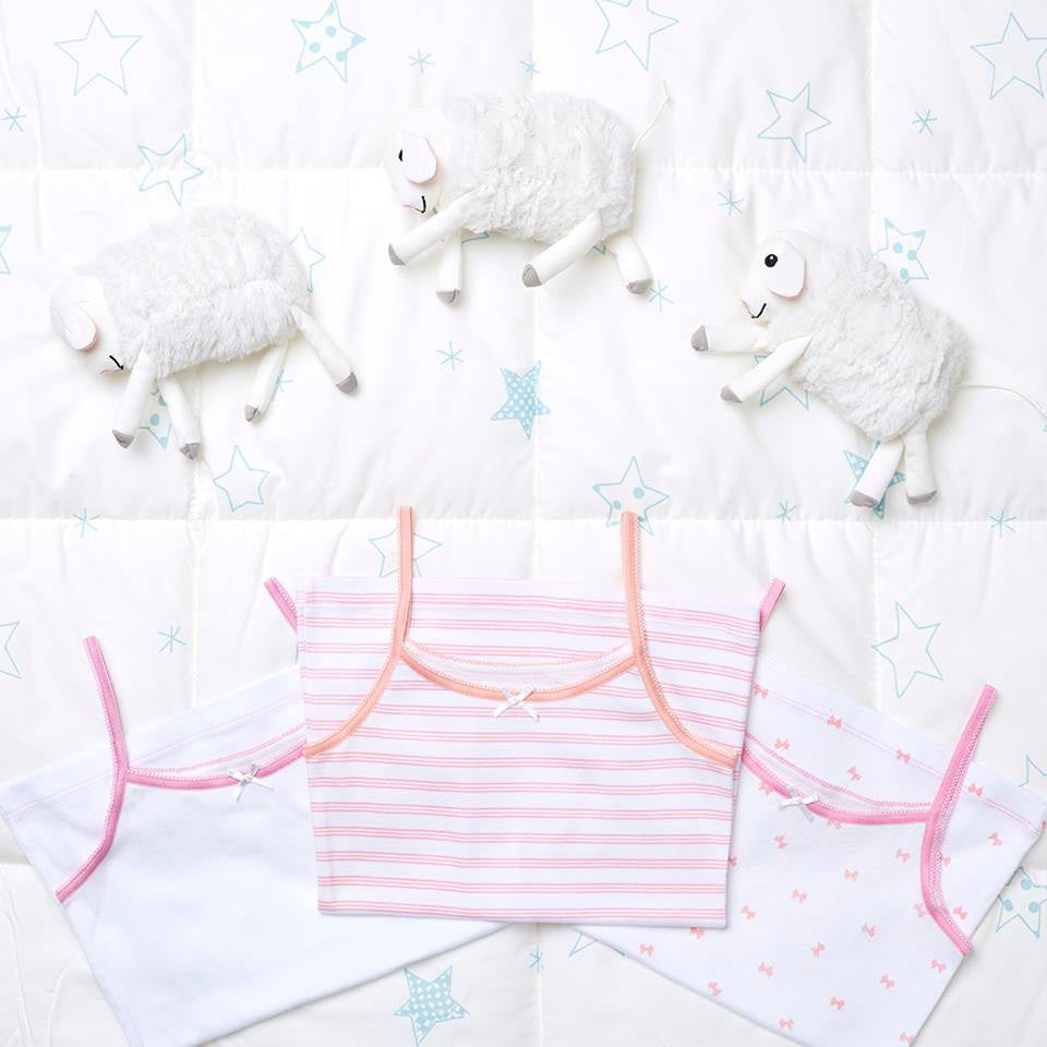 3-Pack Pretty Bows Camisole Undershirt 100% Cotton Fashion Prints