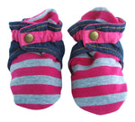 Infant Gray and Pink Striped Baby Booties