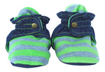 Infant Gray and Green Striped Baby Booties