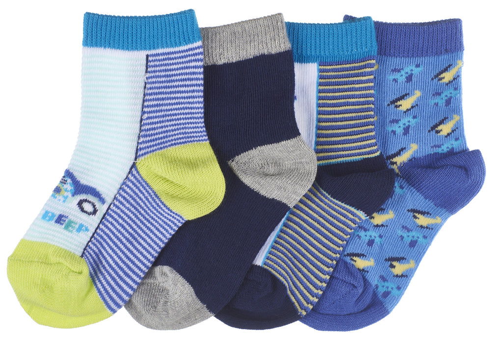 8-Pack Transportation Planes, Cars and Helicopter Toddler Boys Socks