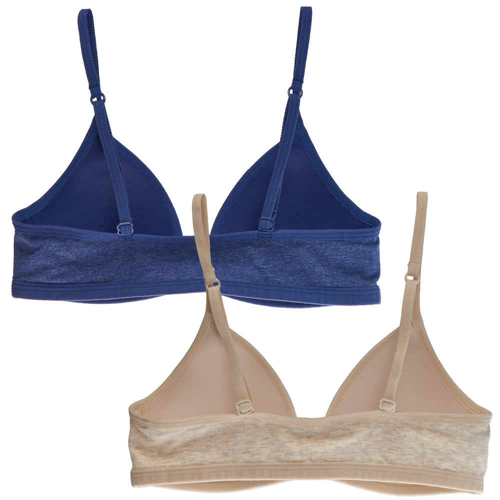 2-Pack Lightly Lined Front-Closure Wirefree Cotton Bra (Navy/Nude)