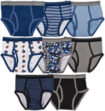 8-Pack 100%  Cotton Dinosaur Camo Underwear Briefs Navy/Grey Multi Color