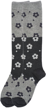 2-Pack Colorblock Floral Knee-Hi Socks, Oxford Heather