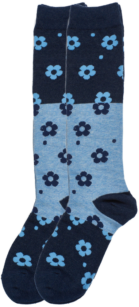 2-Pack Colorblock Floral Knee-Hi Socks, Denim Heather