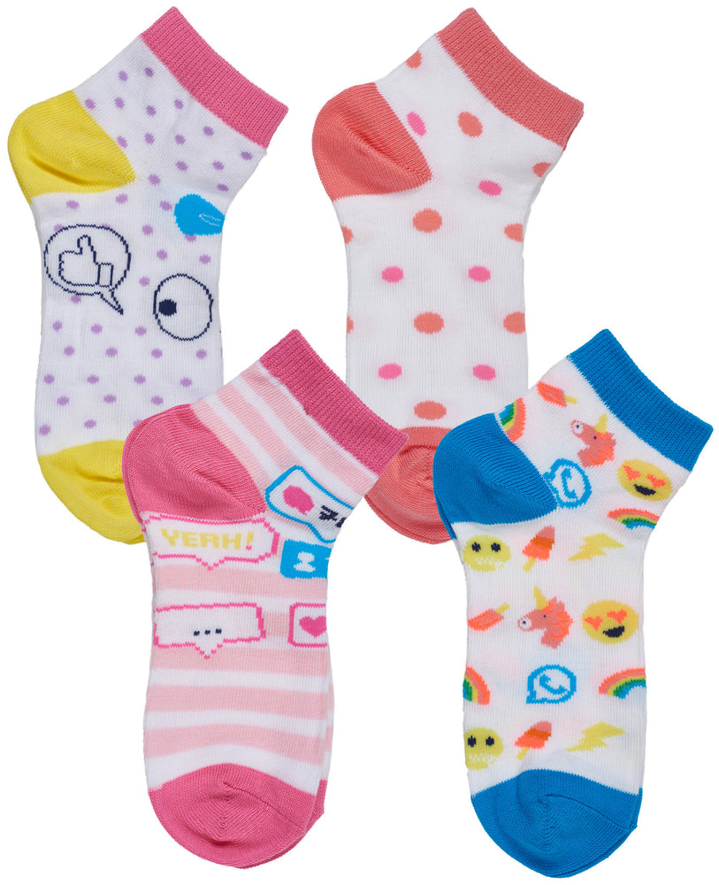 4-Pack Social Media Low Cut Socks