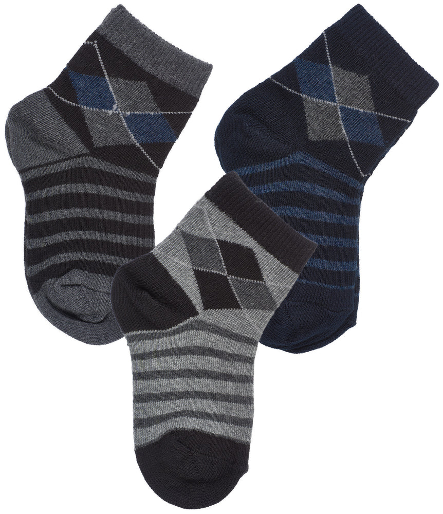 3-Pack Classic Panel Argyle Panel Crew Socks (Medium Grey Heather/Denim Heather/Black)