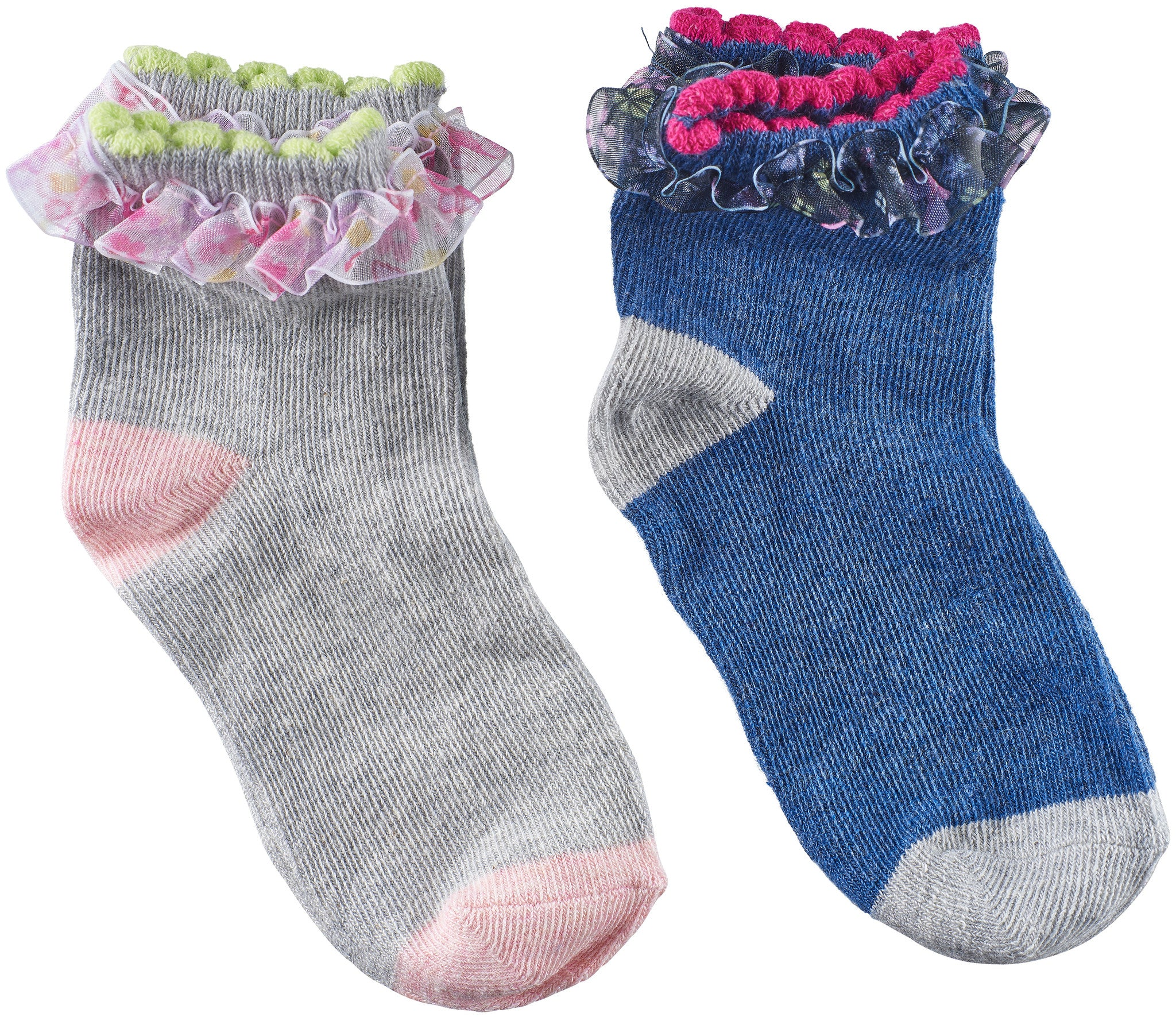Toddler Girls Sheer Floral Trim Socks (Pack of 2)