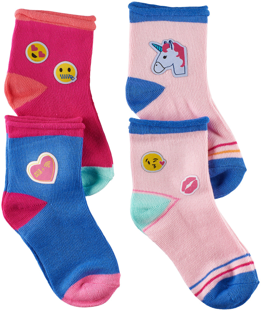 Toddler Girls Emojis 3D Patches Socks (Pack of 4)