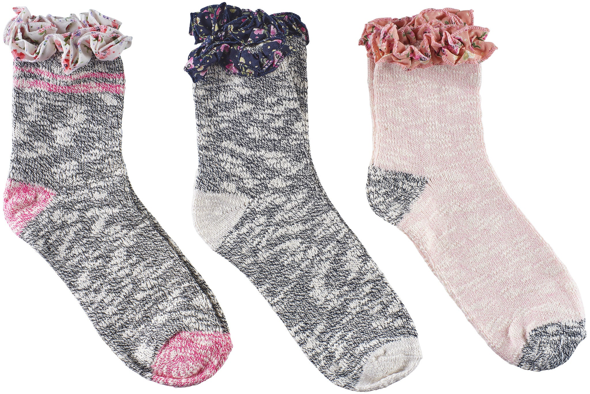 Girls Slub with Floral Trim Socks (Pack of 3)